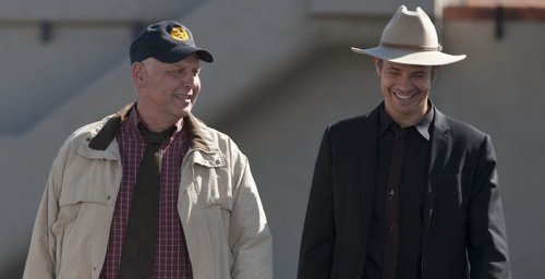 JUSTIFIED: Episode 11: Measures (Airs March 27, 10:00 pm e/p). L-R: Nick Searcy and Timothy Olyphant.  CR: Prashant Gupta / FX.
