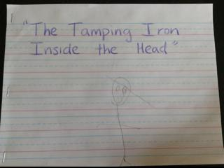 the tamping iron inside the head