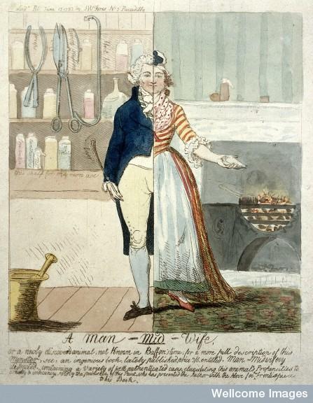 L0011731 Cartoon: 'A Man-Mid-wife'.