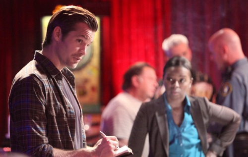JUSTIFIED: Episode 5: Thick as Mud (Airs February 14, 10:00 pm e/p). L-R: Timothy Olyphant and Erica Tazel. CR: Adam Taylor / FX.