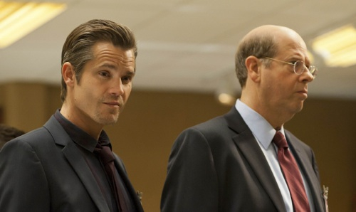JUSTIFIED: Episode 8: Watching the Detectives (Airs March 6, 10:00 pm e/p). Pictured: Timothy Olyphant and Stephen Tobolowsky. CR: Prashant Gupta / FX.