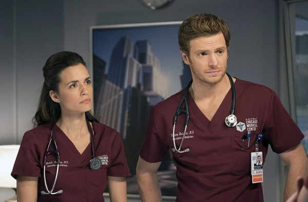 """CHICAGO MED -- """"Cold Front"""" Episode 214 -- Pictured: (l-r) Torrey DeVitto as Natalie Manning, Nick Gehlfuss as Will Halstead -- (Photo by: Elizabeth Sisson/NBC)"""