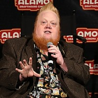 "AUSTIN, TX - MAY 09:  Harry Knowles introduces the Austin premiere of the new film ""Mad Max Fury Road"" at the Alamo Drafthouse on May 9, 2015 in Austin, Texas.  (Photo by Gary Miller/Getty Images)"