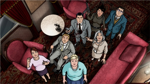 ARCHER: 4.53.18: Cheryl Tunt as voiced by Judy Greer, Ray Gillette as voiced by Adam Reed, Pam Poovey as voiced by Amber Nash, Sterling Archer as voiced by H. Jon Benjamin, Malory Archer as voiced by Jessica Walter, Lana Kane as voiced by Aisha Tyler and Cyril Figgis as voiced by Chris Parnell in LO SCANDOLO airing Thursday, February 16 on FX.
